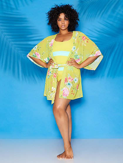Floral Short Kimono Coverup - Sweet Pea Swimwear - New York & Company