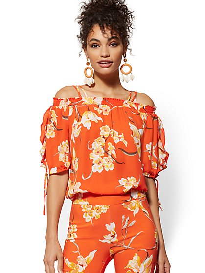 Floral Smocked Cold-Shoulder Blouse - 7th Avenue - New York & Company