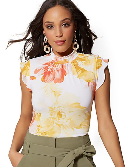 Floral Smocked Top - 7th Avenue - New York & Company
