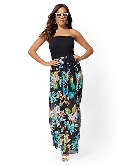 Floral Strapless Maxi Dress - New York & Company