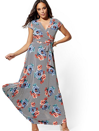 Floral & Stripe Wrap Maxi Dress - New York & Company