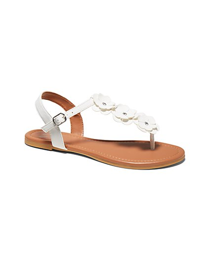 Floral T-Strap Sandal - New York & Company
