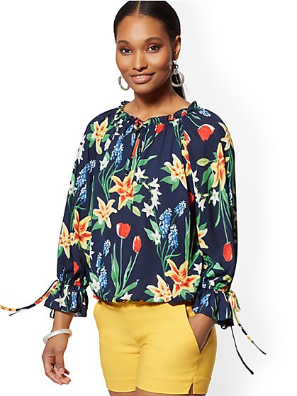 Floral Tie-Front Blouse -7th Avenue - New York & Company