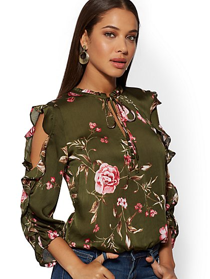 Floral Tie-Front Cold-Shoulder Blouse - New York & Company
