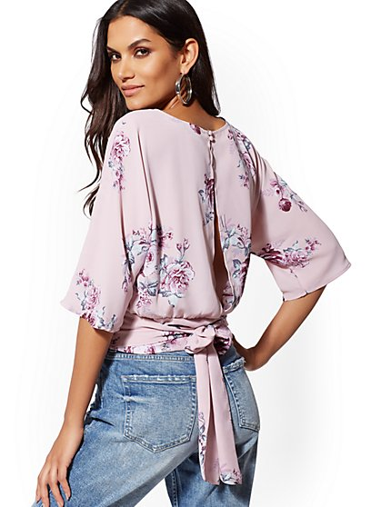Floral Tie-Front Dolman Blouse - New York & Company