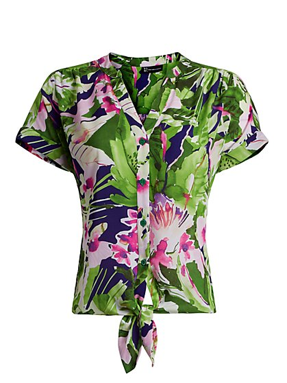 Floral Tie-Front Shirt - New York & Company