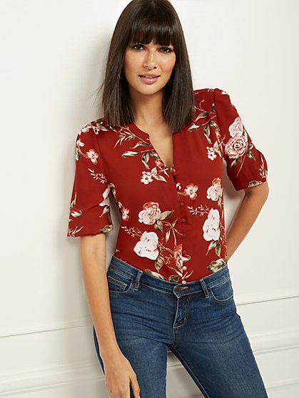 Floral Tie-Front Top - Soho Soft Blouse - New York & Company