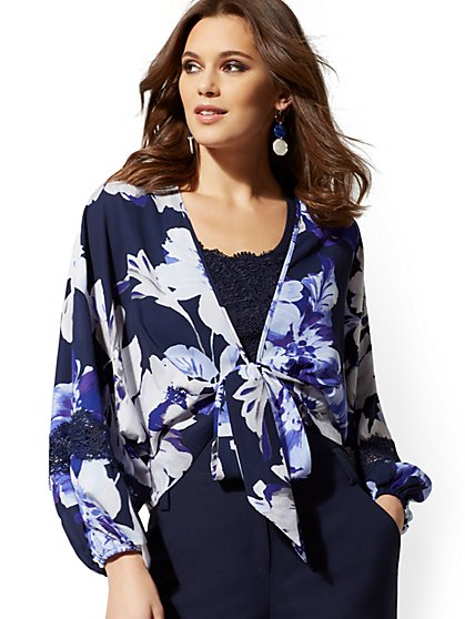 Floral Tie-Front Wrap Blouse - 7th Avenue - New York & Company