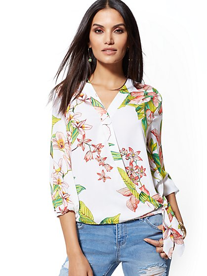 f9ce5583fd62f Floral Tie-Front Wrap Blouse - Soho Soft Shirt - New York   Company ...
