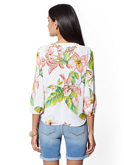 d25b43f956f689 ... Floral Tie-Front Wrap Blouse - Soho Soft Shirt - New York   Company ...