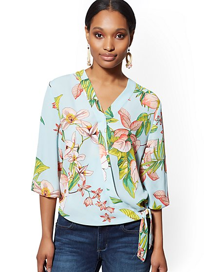 Floral Tie-Front Wrap Blouse - Soho Soft Shirt - New York & Company