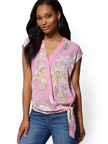 fcd6c87e2e Floral Tie-Front Wrap Blouse - Soho Soft Shirt - New York   Company ...