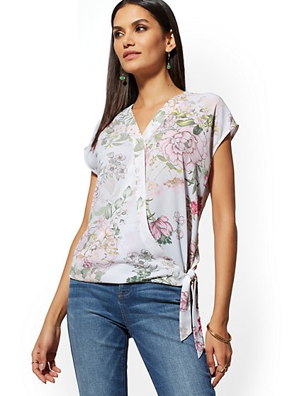Floral Tie-Front Wrap Blouse - New York & Company