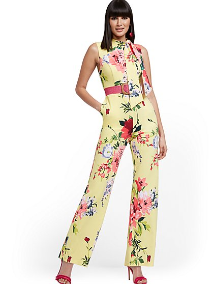 Floral Tie-Neck Jumpsuit - Magic Crepe® - New York & Company
