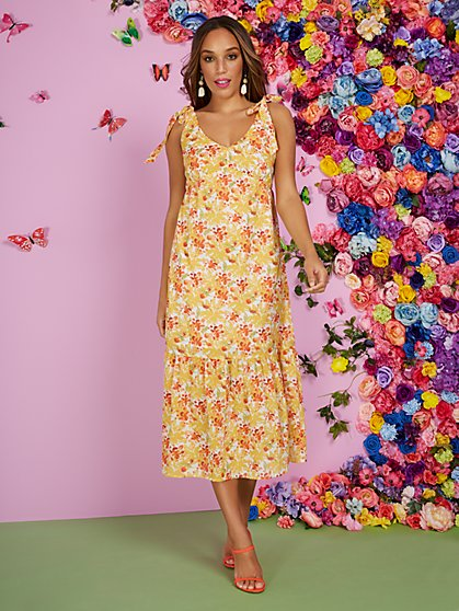 Floral Tie-Sleeve Tiered Maxi Dress - New York & Company