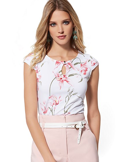 Floral Tiered Cap-Sleeve Tee - 7th Avenue - New York & Company