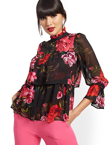 Floral Tiered Ruffled Blouse - New York & Company