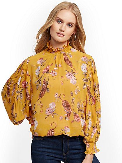 Floral & Tiger-Print Pleated-Sleeve Blouse - New York & Company