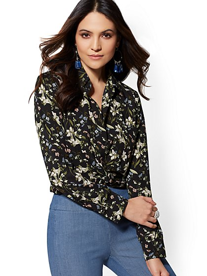 Floral Twist-Front Crop Shirt - 7th Avenue - New York & Company
