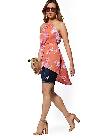 Floral Twist-Front Halter Blouse - New York & Company