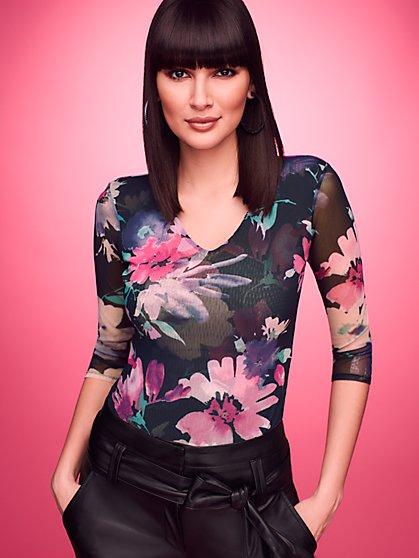 Floral V-Neck Mesh Top - Sweet Pea - New York & Company
