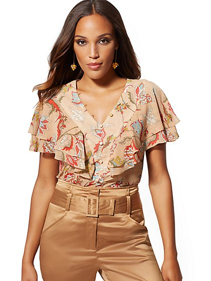 Floral V-Neck Ruffle Blouse - 7th Avenue - New York & Company