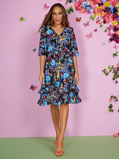 Floral V-Neck Ruffle-Tier Dress - New York & Company