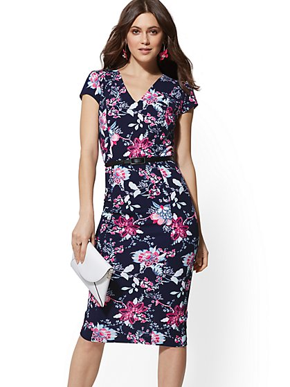 Floral V-Neck Sheath Dress - New York & Company