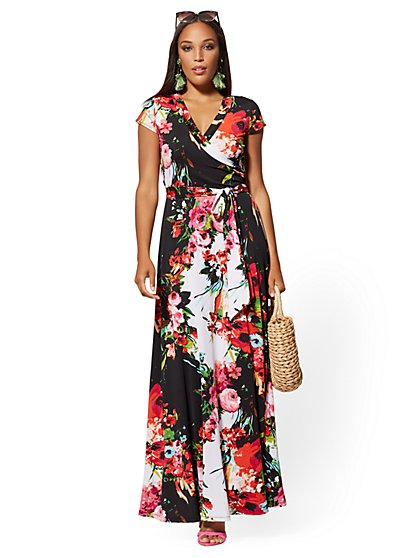 af5343ba187cf Floral Wrap Maxi Dress - New York & Company ...