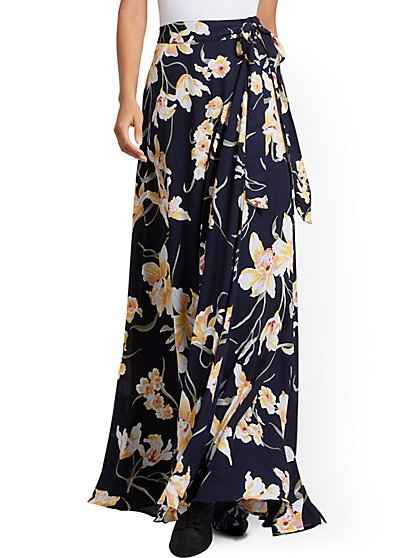 Floral Wrap Maxi Skirt - New York & Company