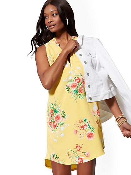 Floral Zip-Front Shirtdress - New York & Company