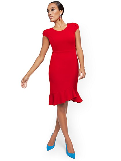 Flounce-Hem Sheath Dress - Magic Crepe® - New York & Company