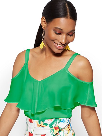 Flounced Cold-Shoulder Top - New York & Company