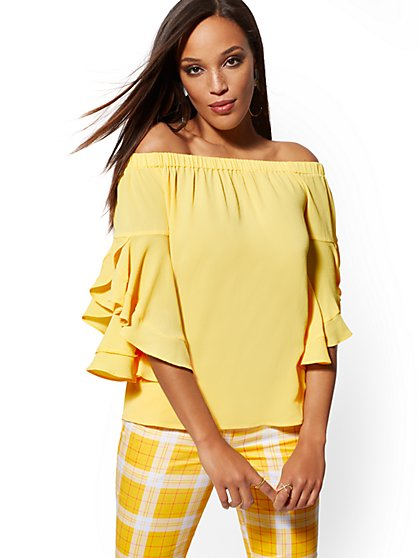 Flounced-Sleeve Off-The-Shoulder Blouse - New York & Company