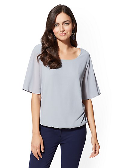 Flounced-Sleeve Scoopneck Top - New York & Company
