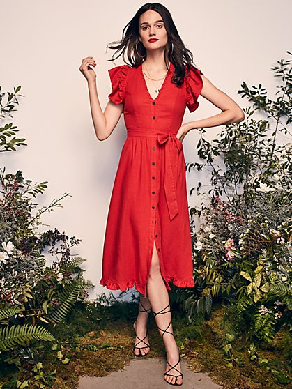 Flourish Midi Dress with Responsibly-Sourced Viscose - New York & Company