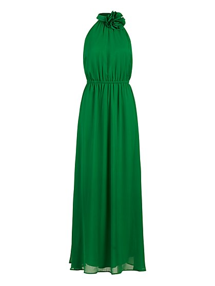 Flower-Accent Halter Maxi Dress - New York & Company