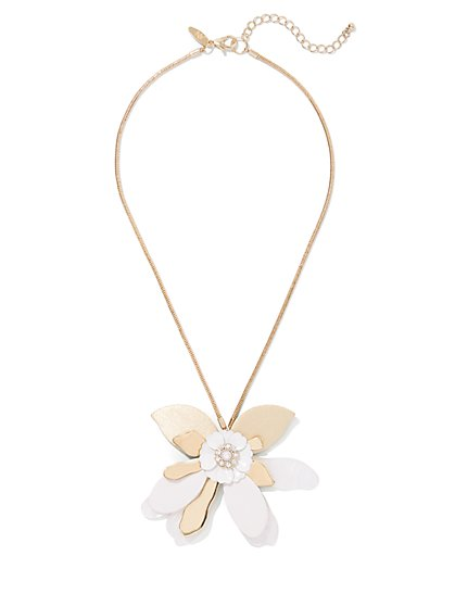 Flower Pendant Necklace - New York & Company