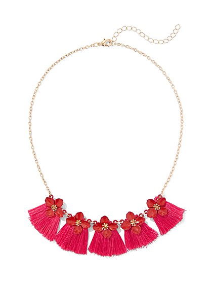 Flower Tassle Necklace - New York & Company