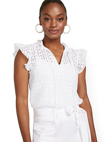 Flutter-Sleeve Eyelet Split-Neck Top - New York & Company