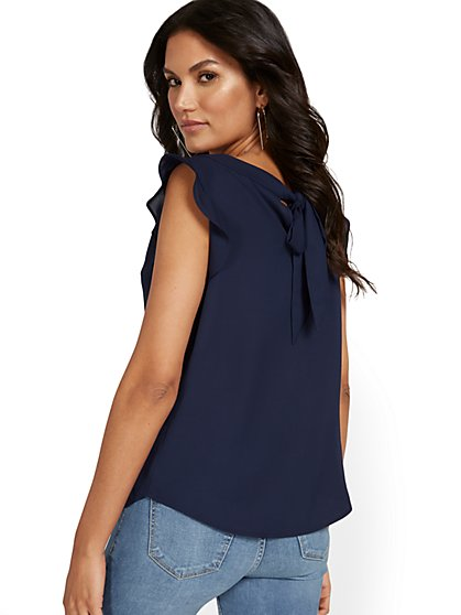 Flutter-Sleeve Keyhole Bow Blouse - New York & Company