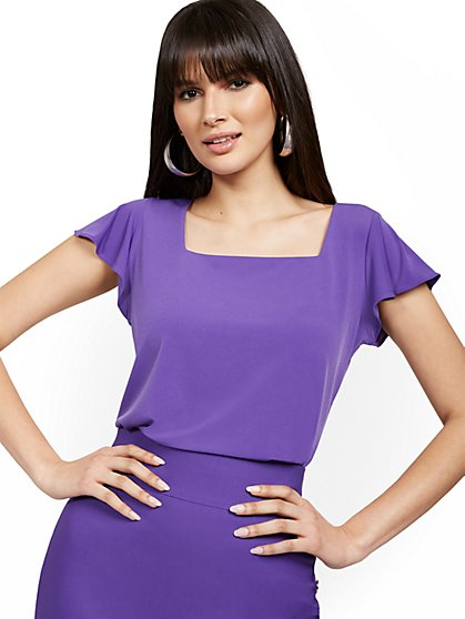 Flutter-Sleeve Square-Neck Top - New York & Company