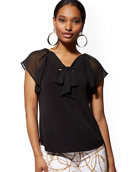 Flutter-Sleeve Tie-Front Top - 7th Avenue - New York & Company