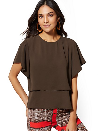 Flutter-Sleeve Tiered-Hem Blouse - New York & Company