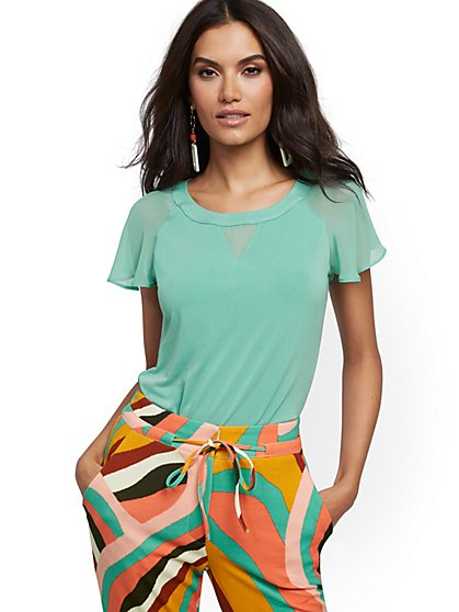 Flutter-Sleeve Top - 7th Avenue - New York & Company