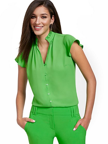 Flutter Sleeve V-Neck Blouse - New York & Company