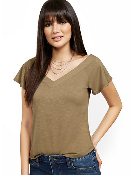 Flutter-Sleeve V-Neck Tee - New York & Company