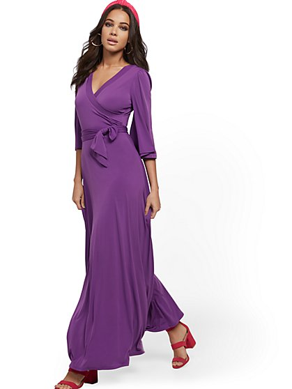 Flutter-Sleeve Wrap Maxi Dress - New York & Company