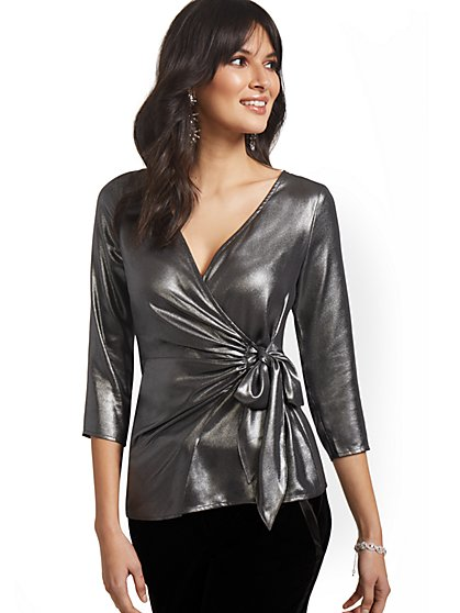 Foil V-Neck Wrap Blouse - New York & Company