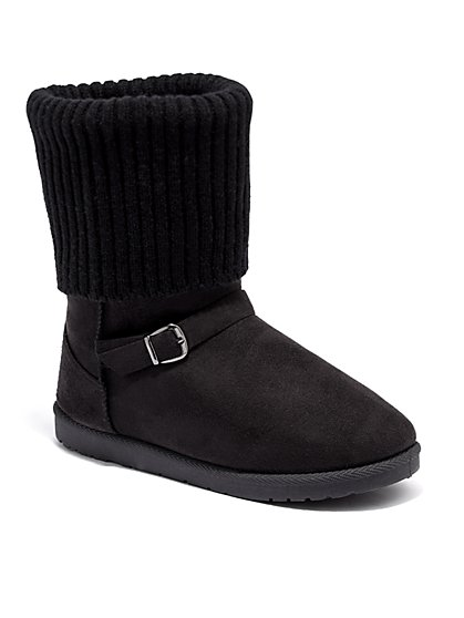 Foldover Knit Cuff Short Buckle Boot - New York & Company